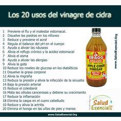 20 usos del vinagre de cidra de manzana! Modo de USO: una cucharadita de vinagre diluida en medio baso de agua, NUNCA tomarlo sin diluir.