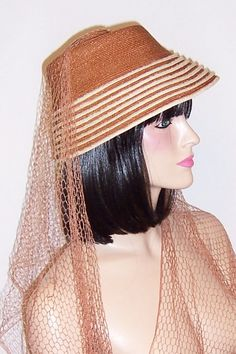 Dachettes' by Lily Dache-Fine Straw Hat with Long Sashes of Open Net