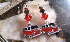Hippie Love Volkswagen VW Bus Ruby Garnet Traveling Gypsy Earrings  $18.45