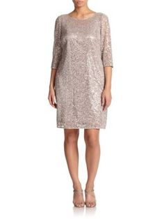 Kay Unger, Sizes 14-24 - Floral Lace Shift Dress - Saks.com
