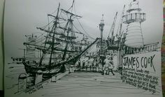 handmade painting/sketches - captain cook ship, Sydney