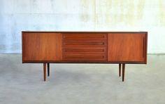 Mid Century Danish Modern Teak Credenza Sideboard Buffet Bar Media Console 1960s | eBay