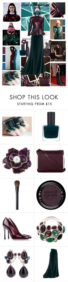 """""""Teal n Burgundy.."""" by caramelpz ❤ liked on Polyvore featuring Emma Watson, RGB, Butter London, Kenneth Jay Lane, French Connection, NARS Cosmetics, MAKE UP FOR EVER, Sergio Rossi, HARRISON and Philippe Ferrandis"""