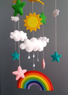 Rainbow baby mobile sun clouds mobile baby boy mobile handmade mobile baby girl mobile baby shower m Mothers Day Crafts For Kids, Summer Crafts For Kids, Rainbow Nursery, Rainbow Baby, Baby Mädchen Mobile, Mobile Mobile, Colorful Clouds, Hanging Mobile, Felt Baby