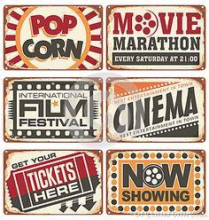 Vintage Sign Design | Set of vintage cinema metal signs. Retro cinema creative design ...