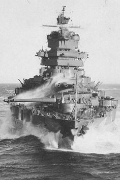 14'' New Mexico class battleship USS Idaho 1943: she was fortunate in not being at Pearl Harbor on 7 December 1941 but as a result was not as extensively modernised as those ships requiring significant repair. She served throughout the Pacific campaign mainly in shore bombardment roles.