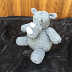 Handmade toy- Plush stuffed toy-Hand Knitted, Soft Knitted Novelty Toy - Nursery Gift - Keepsake- Reg the Rhinoceros by Incywincybabyknits on Etsy