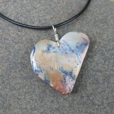 Heart necklace Dendritic Opal  organic and natural