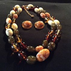 JOAN RIVER 2 PC NECKLACE SET NATURAL STONE BEADS WITH AMBER AND FAUX GOLD. 2 PC SET. JOAN RIVERS Jewelry Necklaces