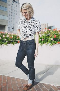 Midrise jean, pattern blouse and vans