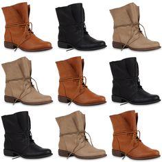 Neu Damen Stiefeletten Worker Boots Schnürstiefel Zipper Schuhe 173-143