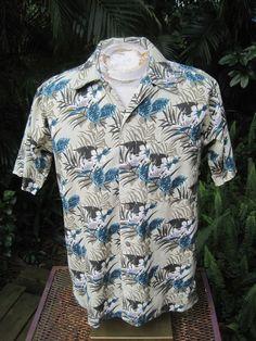 HAWAIIAN Aloha SHIRT M pit to pit 22 PACIFIC SCENE cotton tropical floral #PacificScene #ButtonFront