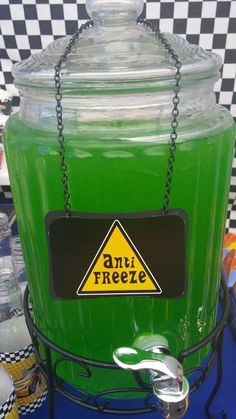 Green anti-freeze drink at a Hot Wheels car birthday party! See more party ideas… Hot Wheels Birthday, Race Car Birthday, Race Car Party, Cars Birthday Parties, Boy Birthday, Birthday Ideas, Birthday Stuff, Birthday Board, Third Birthday