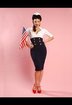 Military Secretary Wiggle Dress in White and Navy, $96 via Pinup Girl Clothing --- (Look: http://bit.ly/14IsWp)