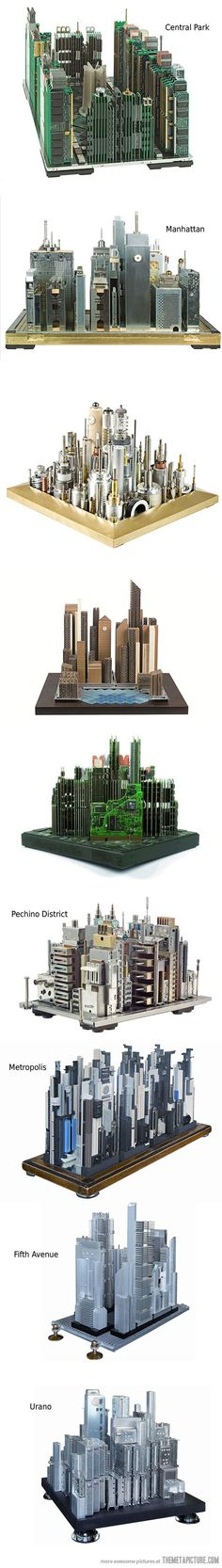 Awesome artist builds cities with computer circuits http://themetapicture.com/awesome-artist-builds-cities-with-computer-circuits/