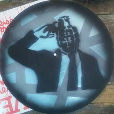 Grenade man urban art spraypaint stencil work