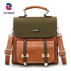 d3826b8e86 Vintage Brown Women Bag High Quality Retro Leather School Backpack For  Teenage Girls Korean Style Female