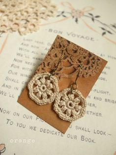 crochet earrings...you could do this for just about any block pattern in miniature!