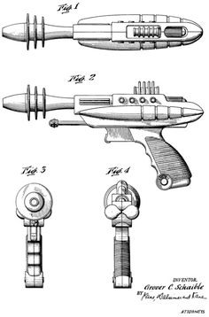 This toy ray gun was made by space-toy manufacturer Pyro Plastics Corporation of New Jersey and sold as the Pyrotomic Disintegrator Pistol during the 50s. Invented by Grover C. Schaible, the patent application was filed in 1952