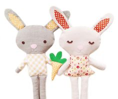Bunny Doll PDF Sewing Pattern Bunny Softie Plush Toy Pattern With Carrot