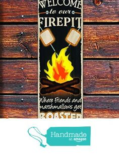 """Welcome to the Firepit - 4""""x12"""" Reclaimed Pallet Wood Sign - Handmade in Nashville, TN from Sawyer's Mill Inc. http://www.amazon.com/dp/B01AH41TIA/ref=hnd_sw_r_pi_dp_u.xUwb07F4GNH #handmadeatamazon"""
