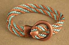 Turquoise and Caramel Hook and Loop Closure Kumihimo Bracelet on Etsy, $20.00