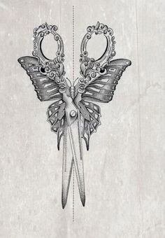 Pretty sewing scissors, butterfly tattoo idea
