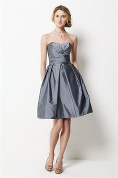 Knee Length Strapless Dress, Charcoal Gray Cocktail Dresses, Best price