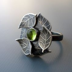 Peridot Ring  Etched Silver Gemstone Jewelry by lisahopkins, $320.00