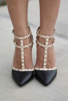 Black and Nude Studded Pointed-Toe Heels (because no one can afford Valentinos )--$40