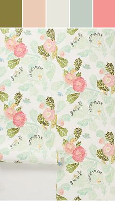 Shelley Hesse Watercolor Flora Wallpaper in Green Size: One Size Decor from Anthropologie. Wallpaper Color, Home Wallpaper, Perfect Wallpaper, Print Wallpaper, Nursery Wallpaper, Beautiful Wallpaper, Bathroom Wallpaper, Wallpaper Ideas, Eclectic Wallpaper