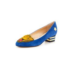 "15 Fashion Week-Friendly Block Heels: Charlotte Olympia ""Mascot"" Wild Cat suede loafer, $795, at Neiman Marcus"