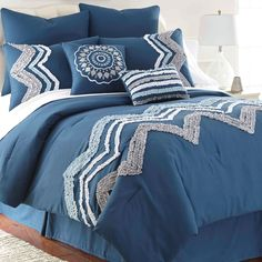 Zig-zag embroidery is crafted with a ruffle texture to form this contemporary Kira bedding set. Available in bright blue or cool grey, this oversized comforter is accented with shams, a bedskirt and two uplifting decorative pillows. Comforter Sets, Comforters, Home Textile, Home, Bedroom Makeover, Dream Bedroom, Colonial House, Bed, Bedroom
