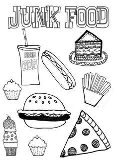 Junk food coloring pages junk food coloring pages elegant food coloring pages all healthy the good . junk food coloring pages Candy Coloring Pages, Online Coloring Pages, Printable Coloring Pages, Coloring Books, Coloring Sheets, Coloring Worksheets, Black Food Coloring, Coloring Pages For Kids, Kids Coloring