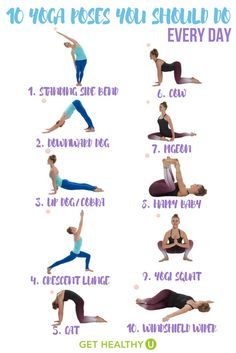 Love Yoga! This simple yoga workout gives you 10 yoga poses you should do every day. It onl... Exercises, Stretches, Nursing, Exercise Workouts, Ejercicio, Excercise, Workouts, Exercise Routines, Work Outs