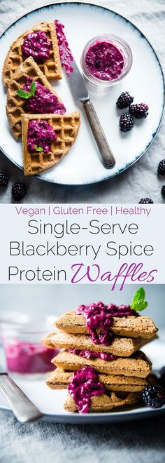 Single Serve Vegan Protein Waffles - These Gluten Free Waffles Are Ready In Only 10 Minutes And Are Packed With Healthy, Plant-Based Protein Top Them With Blackberry Sauce For A Delicious Breakfast Foodfaithfit Healthy Waffles, Protein Waffles, Gluten Free Waffles, Vegan Gluten Free, Gluten Free Recipes, Best Vegan Recipes, Healthy Breakfast Recipes, Healthy Recipes, Protein Recipes