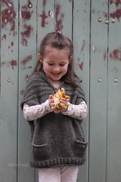 Sewing Crafts For Children Knitting Pattern for Comfort Vest in Child and Adult Sizes - Great Mommy and Me pattern! Ekaterina Blanchard's vest features pockets, brioche rib yoke, rolled neckline for sizes from 1 year to adult. Poncho Knitting Patterns, Crochet Poncho, Crochet Baby, Knitting For Kids, Free Knitting, Knitting Projects, Knitting Ideas, Pull Poncho, Knit Vest Pattern