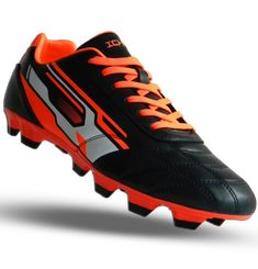 Ichnos Downforce FG Firm Ground football boots black orange – ICHNOS SPORTS Football Boots, Black Boots, Studs, Black And White, Orange, Lace, Sports, Hs Sports, Soccer Shoes