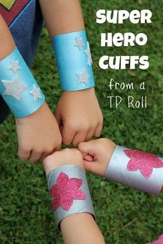 Toilet roll super hero cuffs. Perfect craft or party prop for kids