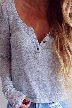 Button V Neck Long Sleeve T-Shirt