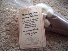Hot Cocoa Favors. given that my wedding is in January i think this is an adorable idea :) easy DIY