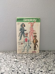 Kids vintage animal costume pattern from 1970 makes bunny, lamb, cat and leopard SUIT for Halloween or parties Simplicity 9050 Size 8 UNCUT by GiftGarbBags on Etsy #costumes