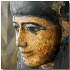 Detail of an ancient Egyptian sarcophagus. Egyptian Museum, Turin.
