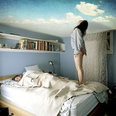 Wake up with your head in the clouds with this unique ceiling mural. The mural is a sticker with a satin finish and measures by inches. Ceiling Murals, Wall Murals, Wall Decal, Wallpaper Ceiling, Ceiling Decor, Wall Stickers, Wall Art, Cloud Ceiling, Inspiration Wand