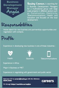 Heading Careers is searching for Business Development Managers to work in Angola