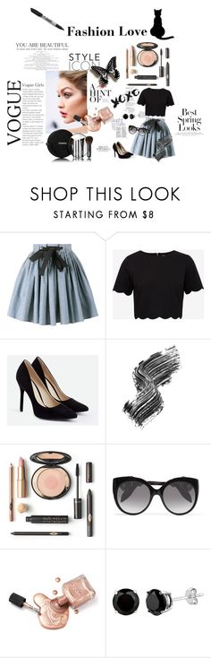 """""""Untitled #54"""" by gurleenkaur02 on Polyvore featuring Miu Miu, Ted Baker, JustFab, Illamasqua, Chanel, Alexander McQueen, H&M and Sharpie"""
