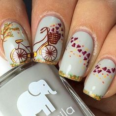 This is why today we found the best fall nail art. We accept begin 33 of the best fall nail art designs of all time. These fall nail art designs are incredible. Fall Nail Art Designs, Beautiful Nail Designs, Cute Nail Designs, Fall Designs, Cute Nails, Pretty Nails, Thanksgiving Nail Art, Vintage Nails, Nail Design Video