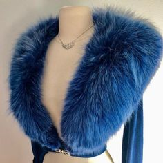 "Miss V on Instagram: ""( sold ) Tres Chic! Sapphire blue So rich and luxurious Vintage 1950's cashmere cardigan with huge fox collar. The ultimate in vintage…"" Cashmere Cardigan, Vintage Sweaters, Blue Sapphire, Pin Up, Fur Coat, Luxury, Chic, Jackets, Fox"