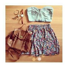 Adorable floral printed skirt with top denim blouse and brown leather hand bag and watch the best summer outfits
