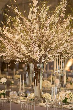 Cherry Blossoms Transformed This New York City Wedding Into a Romantic Indoor Ga. Cherry Blossoms Transformed This New York City Wedding Into a Romantic Indoor Garden Branch Centerpieces, Tall Wedding Centerpieces, Wedding Reception Decorations, Wedding Themes, Wedding Venues, Wedding Hacks, Indoor Garden Wedding Reception, Wedding Ideas, Wedding Photos